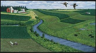 Ideal Farm painting with river and alternating crops